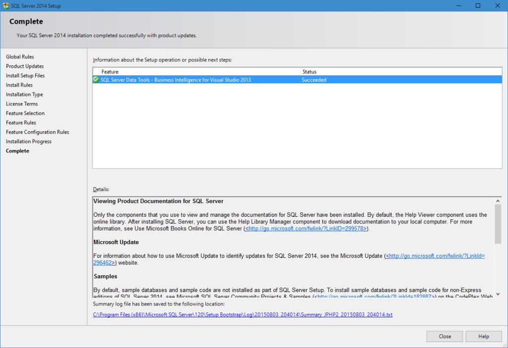 Windows 10 Upgrade – Part 4: Cannot Install SSDT-BI (Install